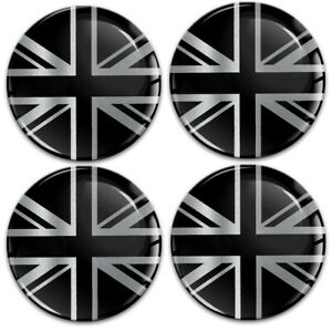 4 x 56mm 3D Car Wheel Centre Hub Caps Center Rim Silicone UK Union Jack Sticker