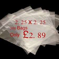 500 Small Clear 2.25 x 2.25 Resealable Plastic Bags Polythene Grip Seal £2.79