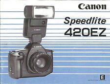 Canon Speedlite 420EZ Original Instruction Book, User Manual, Guide Instructions