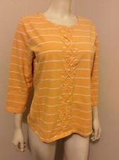 ISAAC MIZRAHI LIVE BOAT NECK KNIT TOP SZ L 3/4 SLEEVES STRIPED
