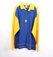 Vintage 90s New Columbia Mens Large Spell Out Long Sleeve Polo Rugby Shirt Blue