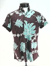 16d2777dd Reyn Spooner Hawaiian Shirt Floral Brown Turquoise Classic Fit Men's XS