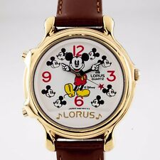 LORUS Mickey Mouse Musical Unisex Reloj de cuarzo con / Correa Cuero wc002