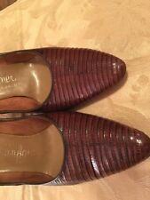 Vintage Womens Lizard Shoes Brown Leather Pumps Size 7B.