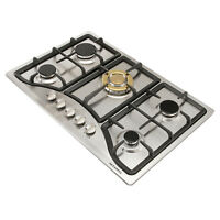 US Seller ~ 30 inch Gas Cooktop 5 Burner Stainless Steel Top for Kitchen Cooker