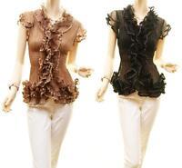 Women Faux Silk Chiffon Sheer Polka Dot Ruffle Tulle Cascade Blouse Shirt Top