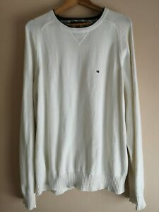 Tommy Hilfiger Cream Cotton Round Neck Jumper/Sweater - Men's XL