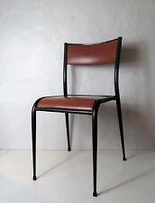 Ancienne chaise d'école format adulte professeur skaï marron Vintage