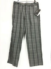 Oakley Mens Size 32 Swagger Pants Black Gray Plaid Flat Front NWT $75