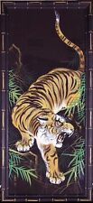 "BENGAL TIGER / ORIGINAL VINTAGE ASIAN GOUACHE PAINTING ON SILK 42"" X 19"" FRAMED"