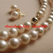 Charming 8MM White Akoya Shell Pearl Necklace + Earring Set18""