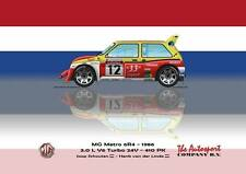 "Print on Canvas MG Metro 6R4 1986 #12 Tour de Corse, ""Dutch Flag"" 120 x 90"