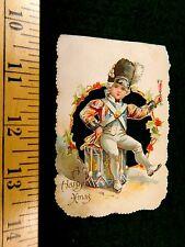 Vintage Die Cut Happy Xmas British Soldier Drummer Christmas Victorian Card F42