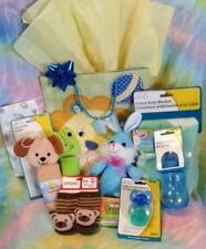 14 Pc Baby Boy Shower Gift Bag Collection – Blue Green Yellow - Ready to Go Kit