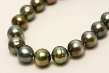 Tahiti Pearl Necklaces 11-12mm Multi Color Silver