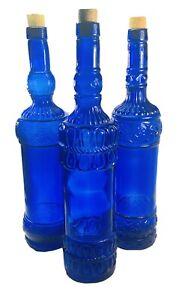 """Set Of 3 VTG Cobalt Wine Blue Glass Decorative Textured Bottles Spain Corks 13"""""""