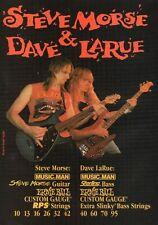 1994 VINTAGE 8X11 Print Ad Steve Morse+Dave Larue use Ernie Ball GUITAR STRINGS