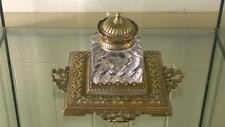 Mozzafiato ornata in ottone anticato e vetro Scrivania calamaio C 1860+