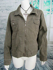 Chico's Women's Size 2 Long Sleeve Military Green Zip Up Jacket