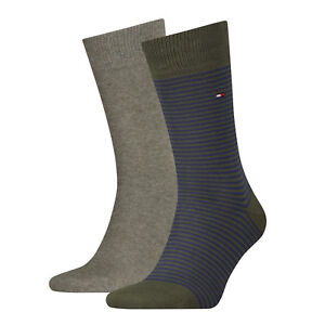 Tommy Hilfiger Mens Socks UK 6-8 Formal Classic Striped Cotton (2 Pair Pack)