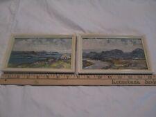 "PAIR E I Bryer Connemara Ireland Listed Irish Oil Paintings miniature 4.5 x 7.5"""