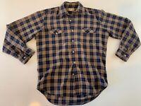 VTG L.L. Bean Long Sleeve Plaid Button Front Shirt Men's Size Medium Blue Tan