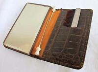 VINTAGE 1920'S  BROWN CROCODILE COMPACT HANDBAG MIRROR & SILVER HAIR COMB