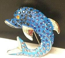 Dolphin Brooch with Bling Bling Rhinestones