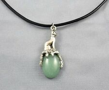 Egyptian Bast Bastet Cat Goddess on Green Aventurine Gemstone  Pendant 1-5/8""