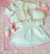 """Baby Smocked Frilly Cardigan Dress Bonnet /Bootee 14 - 18"""" 4Ply Knitting Pattern"""