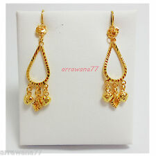Dangle Beaded 22K 23K 24K THAI BAHT YELLOW GOLD Filled GP EARRINGS JEWELRY