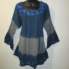 Top Fits XL 1X 2X Plus Tunic Blue Gray Sequins Square Neckline Tunic NWT 5140