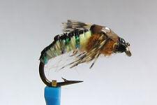 1 x Mouche peche NYMPHE SEDGE PEARL H10/12/14/16 fly fishing fliegen mosca