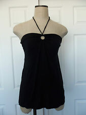 Juicy Couture Black O-Ring Modal Jersey Knit Halter Top Convert to Strapless - S