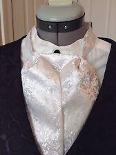 Puff Tie Gentleman Mans Cravat Ascot Steampunk White Print Satin Silk Blend Sass