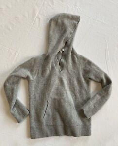 White + Warren Small Gray Cashmere Hoodie Sweater