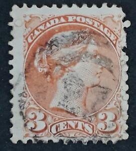 c.1894 Canada 3c orange QV stamp with Numeral 27 cancel