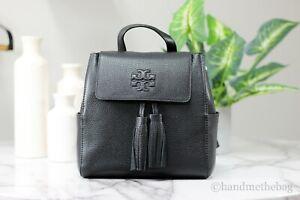 Tory Burch (73134) Thea Black Mini Pebbled Leather Tassel Backpack BookBag