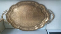 LOVELY  LARGE INDIAN  ANTIQUE  / VINTAGE BRASS ETCHED SERVING TRAY-  TAJ MAHAL