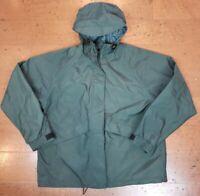 Cabela's Dark Green Packable Rain Jacket Windbreaker Billed Hood Womens Small