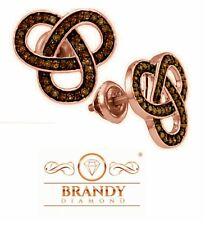 Brandy Diamond® Chocolate Brown 18K Rose Gold Silver Triple Infinity Earrings
