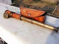 BRASS TELESCOPE MARINE ANTIQUE NAUTICAL LEATHER PIRATE SPYGLASS VINTAGE SCOPE
