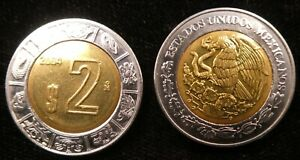 2004 Mexico 2 Nuevos Pesos BiMetallic 23mm KM 604 (C174)