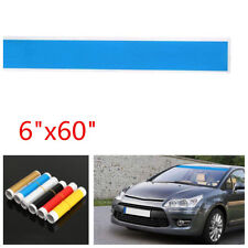 "6""x60""Blue Glossy Car Vinyl Windshield Reflective Decal Strip Window Visor Decor"