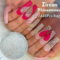 1440pcs Nail Art Rhinestones Glitter Gems 3D Tips DIY Decoration Crystal