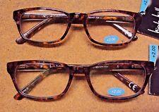 "Lot 2 Nicole Miller Women ""Lisa"" Brown Spring Hinge Reading Glasses Reader +2.00"