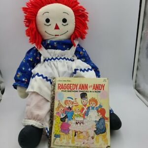Vintage Raggedy Ann Handmade Blue Dress Doll Golden Book Raggedy Ann Andy  Lot 2