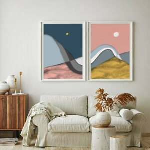 Christmas Art Gift, Abstract Mountains Nordic Landscape, Nature Diptych, Moon Po