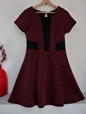 Ladies Lovely River Island Black & Red Striped Warm Mid Stretch Dress 12, Vvgc