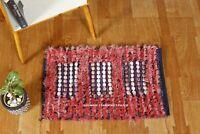 Hand Woven Floor Carpet Anti-Skid Fluffy Shaggy Mat Hippie Red & Beige Area Rug